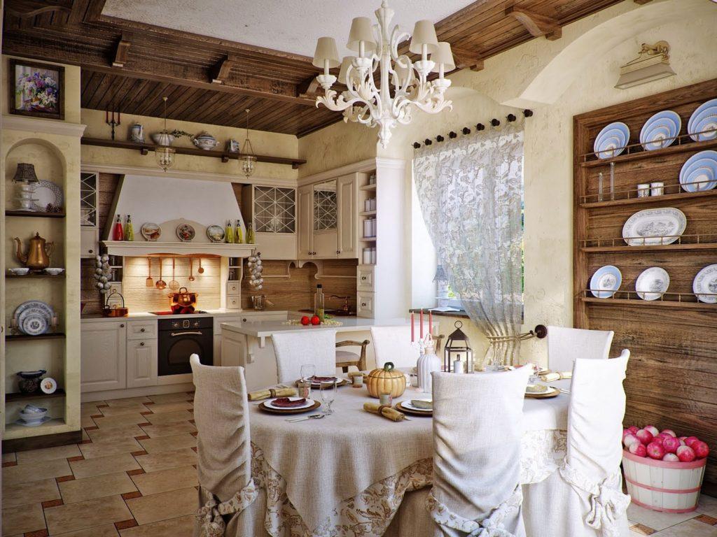 Открытые полки на кухне делают ее более уютной