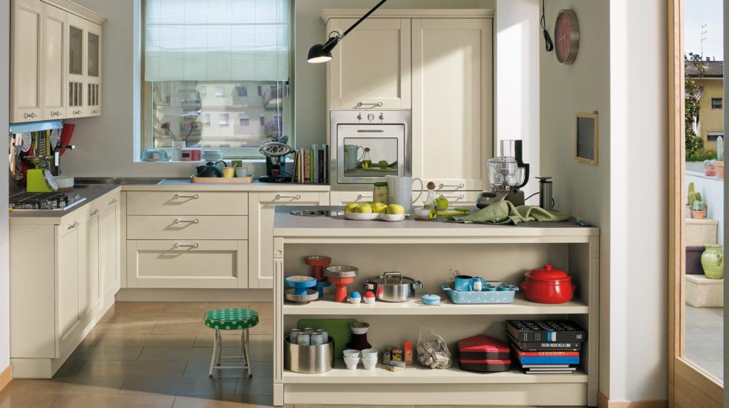 Кухонные полки под рабочей зоной