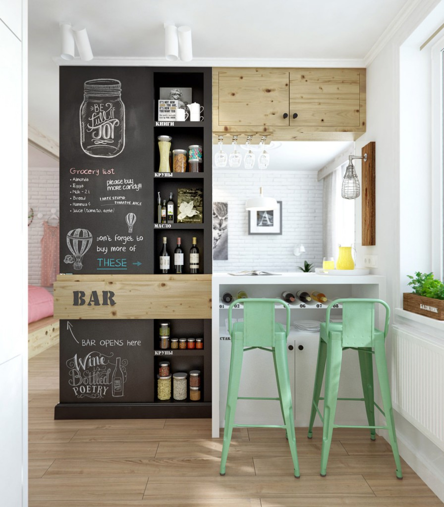 Открытые черные кухонные полки на кухне в стиле кафе