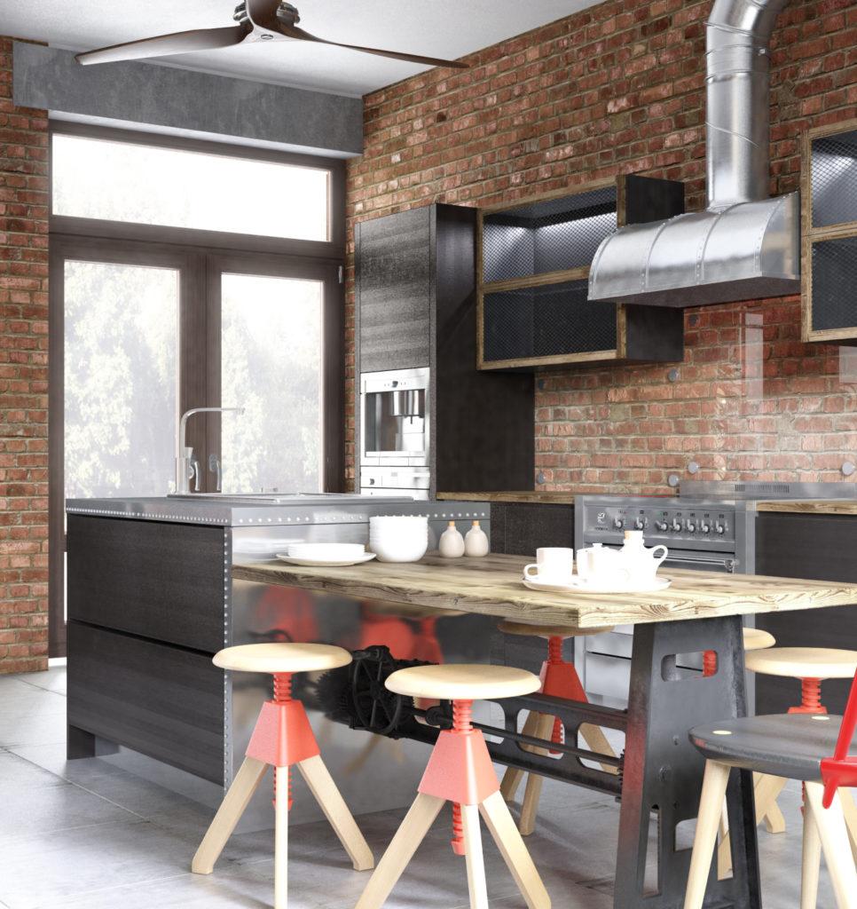 Кухня в стиле лофт с островом-обеденным столом