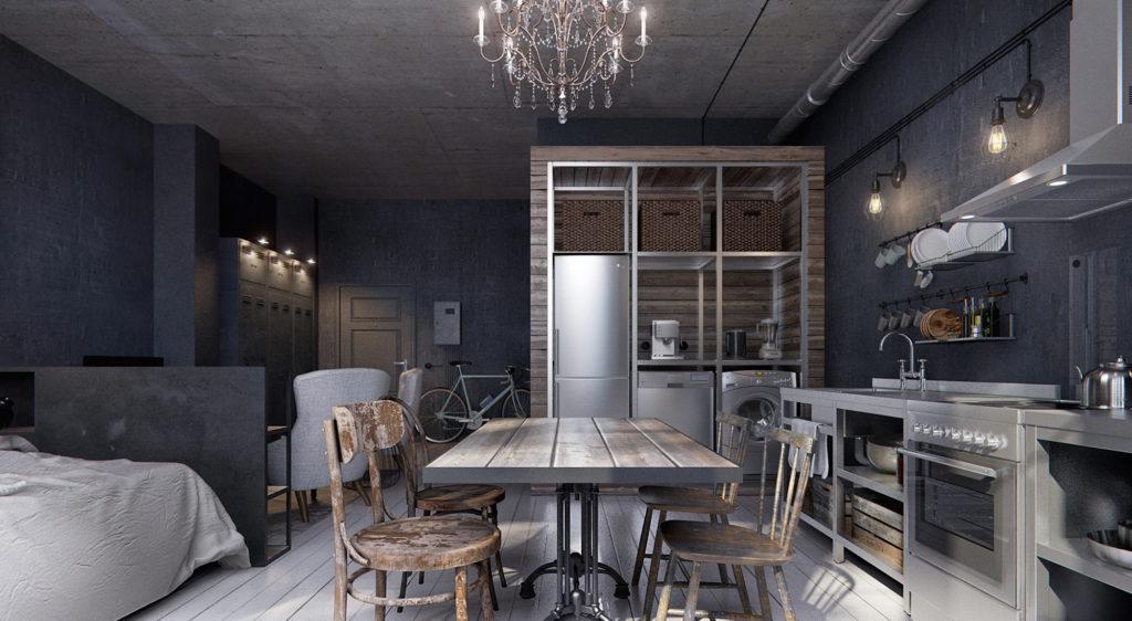 Стильная серая кухня с сочетанием современных и старинных вещей