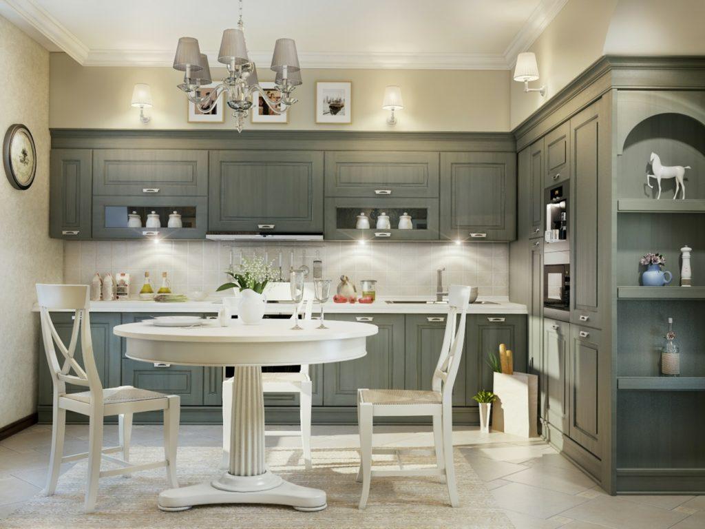 Кухня с серо-зеленым гарнитуром и светлой мебелью