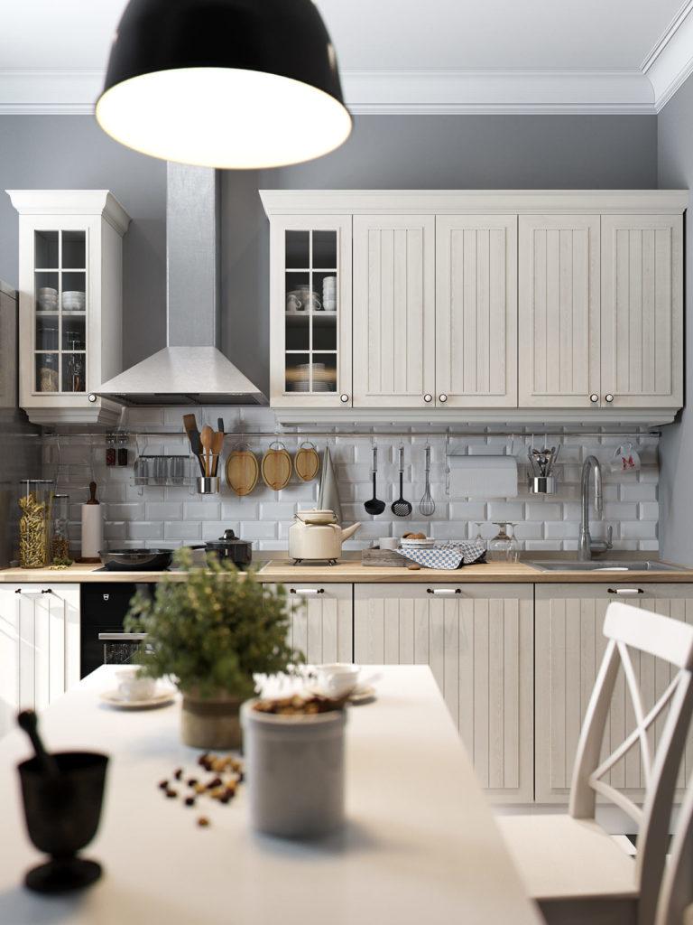 Серая кухня с бежевым гарнитуром и мебелью в деревенском стиле