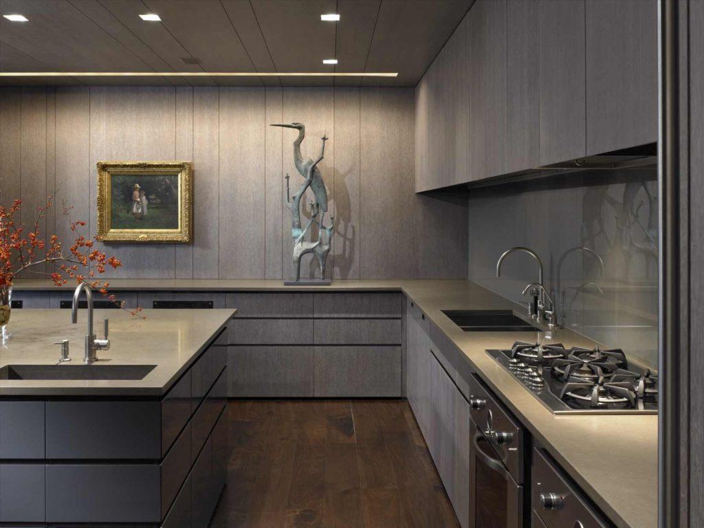 Монохромный серый дизайн кухни