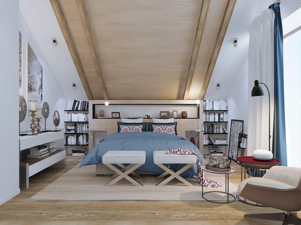 Спальня с деревянными полками и потолком в мансарде в стиле модерн
