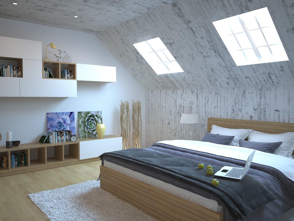 Спальня в стиле модерн с деревянными стенами и потолком в мансарде