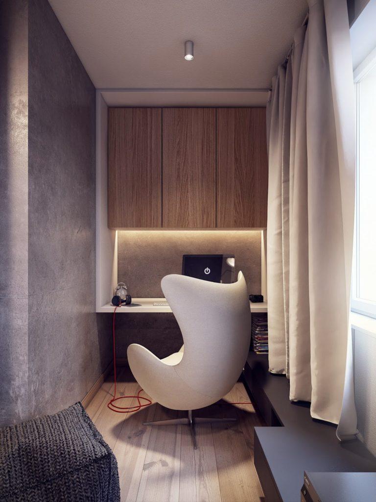Сочетание серого и светлых цветов в кабинете