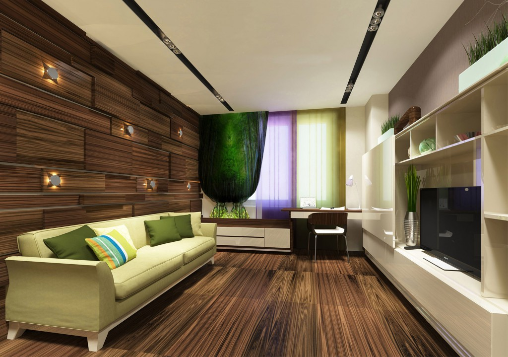 Эко-стиль с элементами хайтека в гостиной