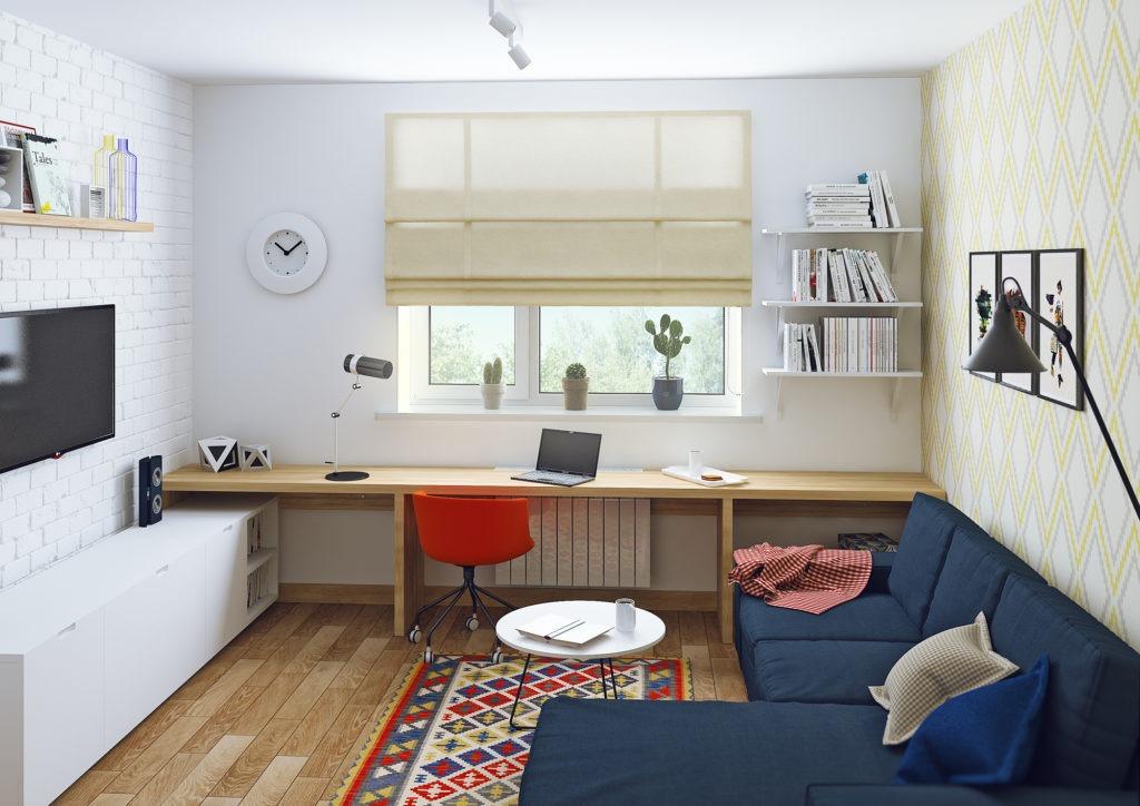 Скандинавский стиль гостиной и рабочей зоны