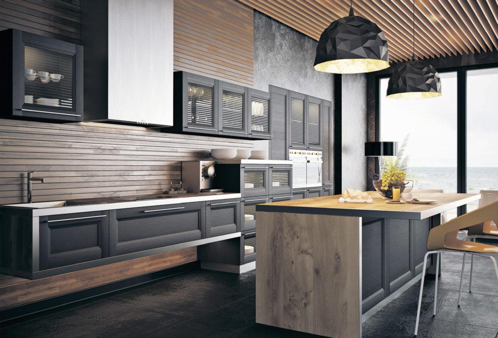 Уютная кухня с деревянными панелями