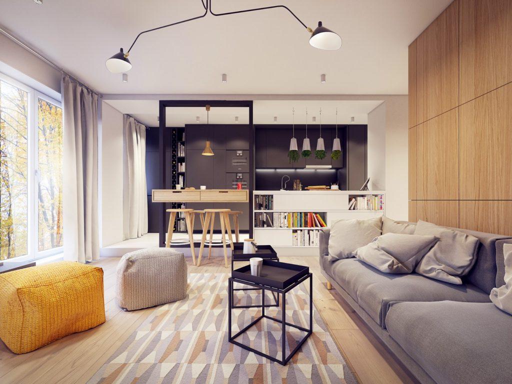 Красивый современный интерьер гостиной с деревянными панелями