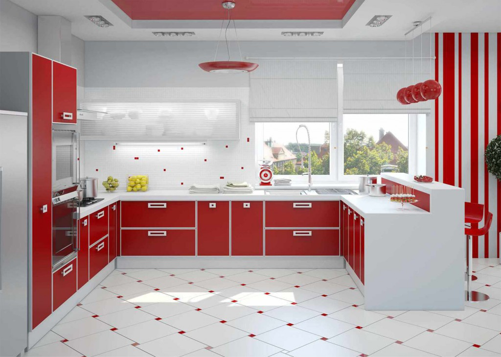 Красно-белый матовый натяжной потолок на кухне
