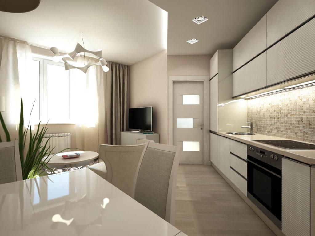 Серо-белый матовый натяжной потолок на кухне