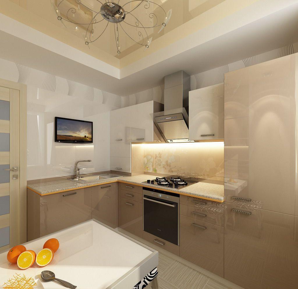 Кремово-белый глянцевый двухуровневый натяжной потолок на кухне