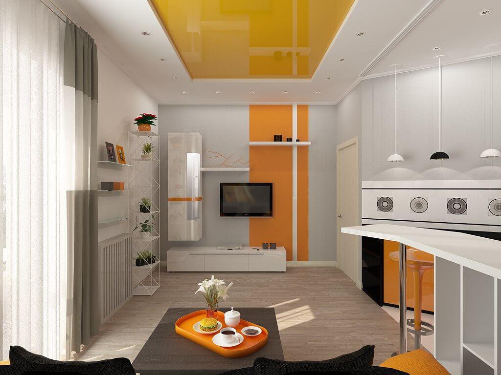 Оранжево-белый натяжной потолок на кухне