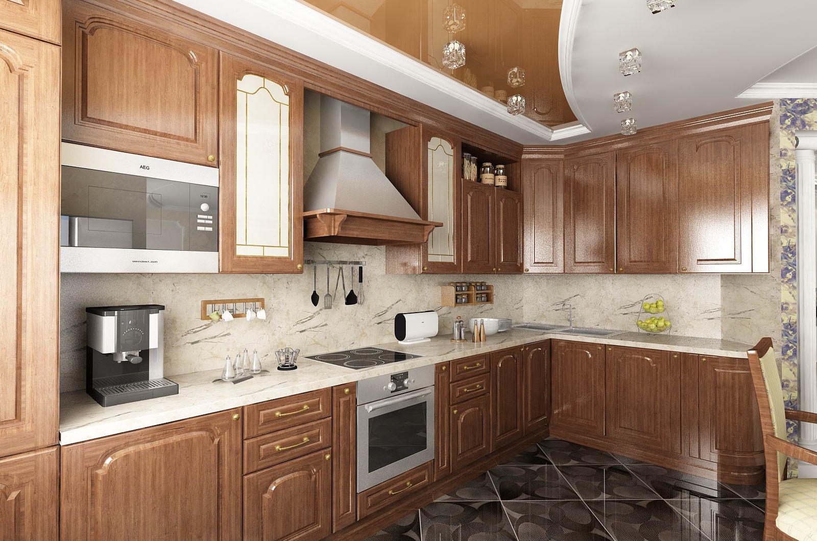 Коричнево-белый натяжной потолок на кухне