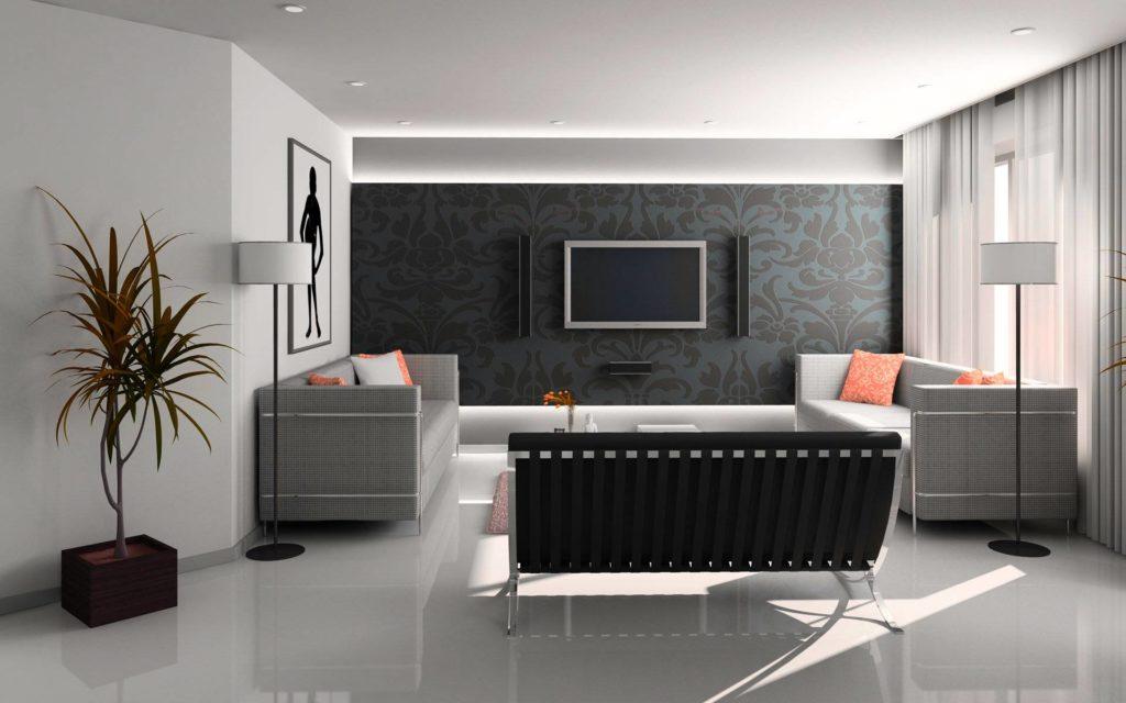 Черные обои с крупным орнаментом в гостиной