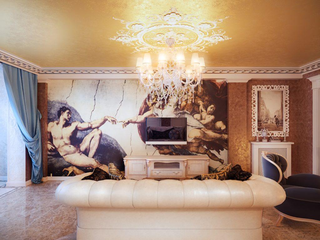 Фотообои в гостиной в классическом стиле