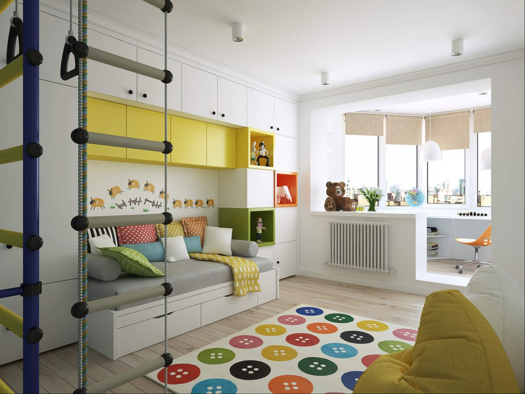 Детская комната, расширенная за счет балкона