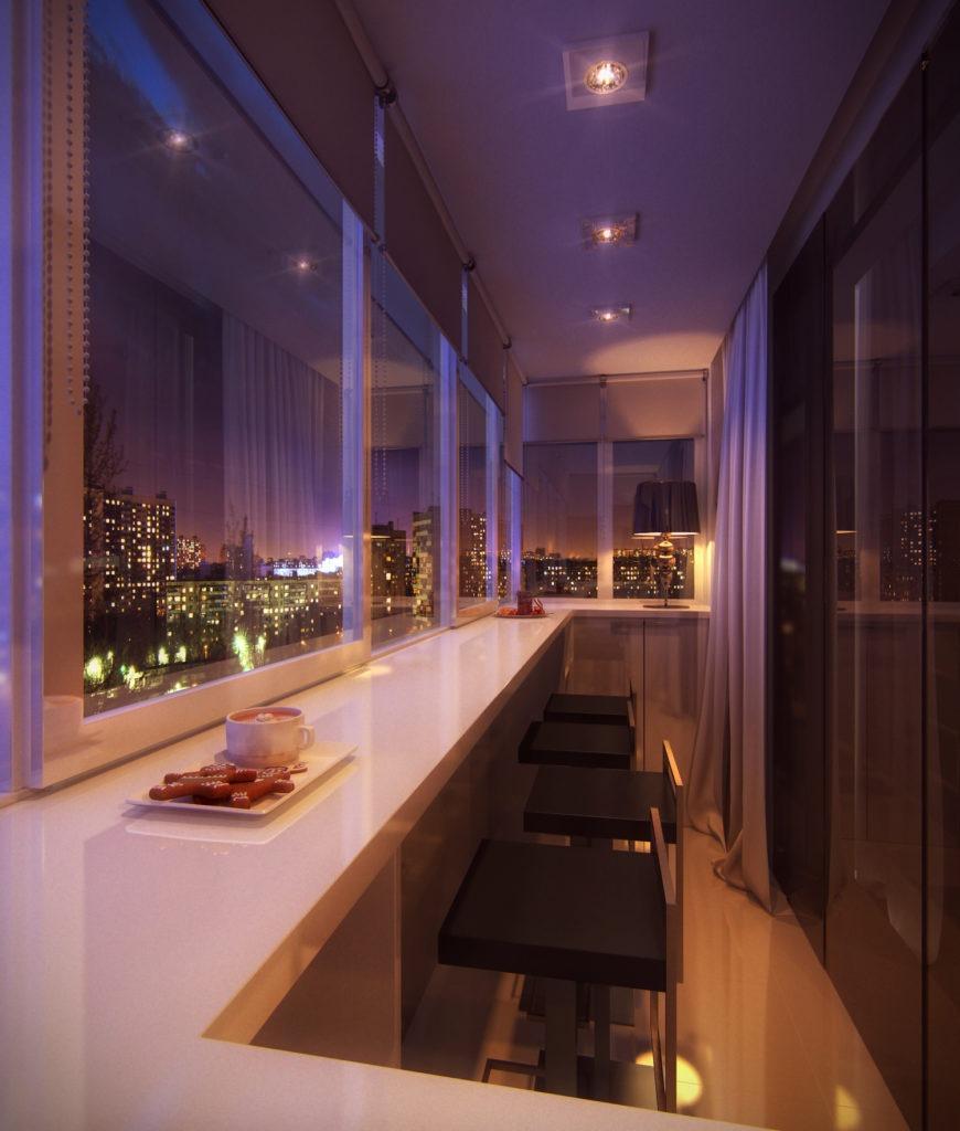 Удобная обеденная зона на балконе