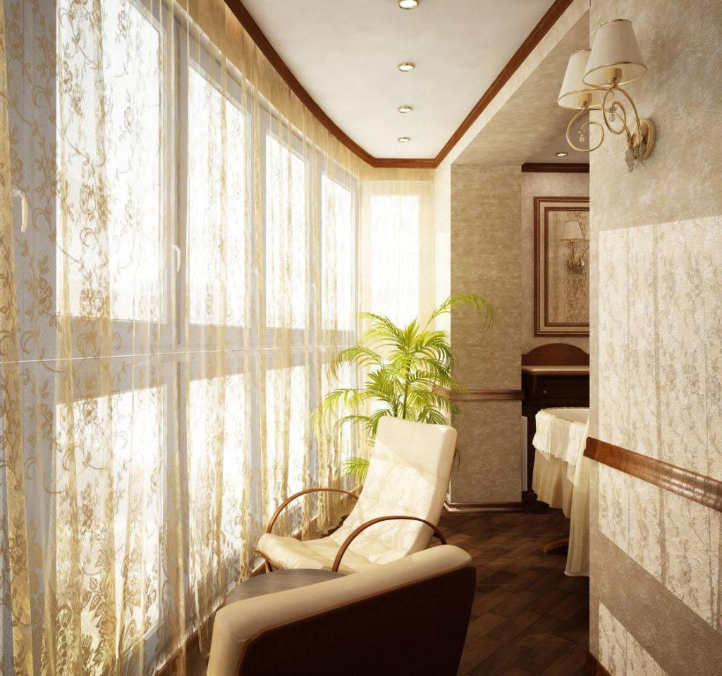 Освещение балкона с помощью встроенных ламп и настенного светильника