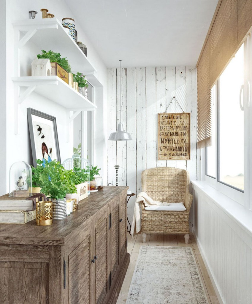 Оформление балкона полками, мебелью и растениями