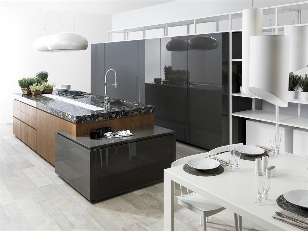 Холодильник с декоративной панелью на кухне