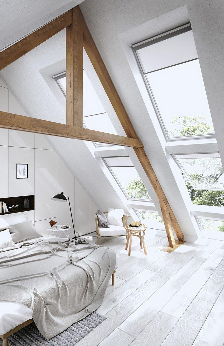 Спальня в мансарде панорамными окнами
