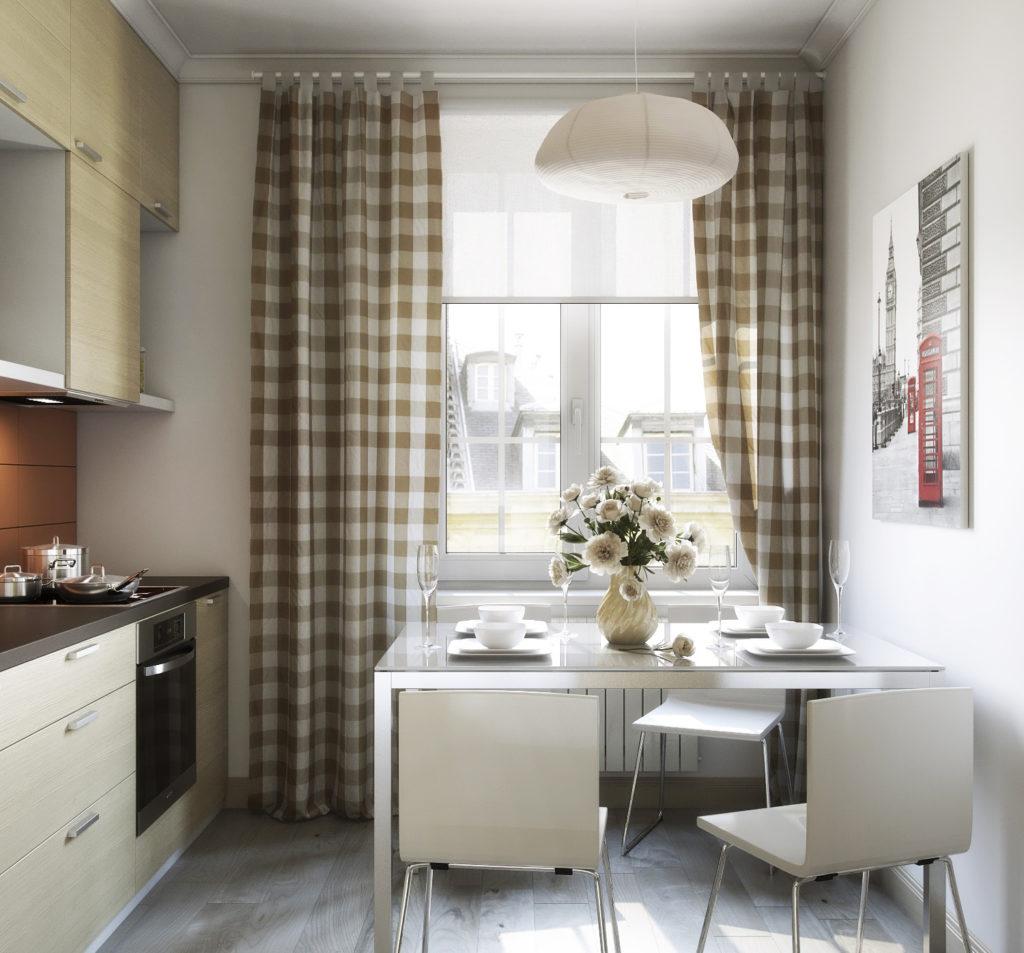 Кухня с клетчатыми шторами в скандинавском стиле