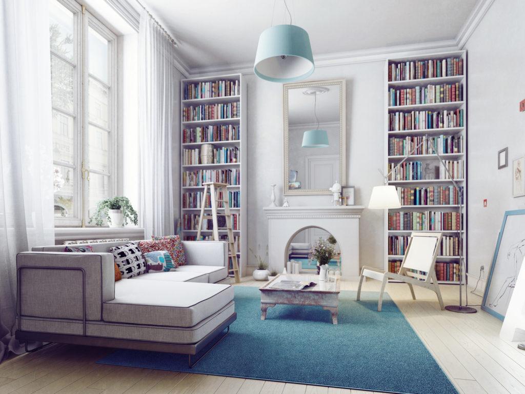 Прихожая с библиотекой в скандинавском стиле