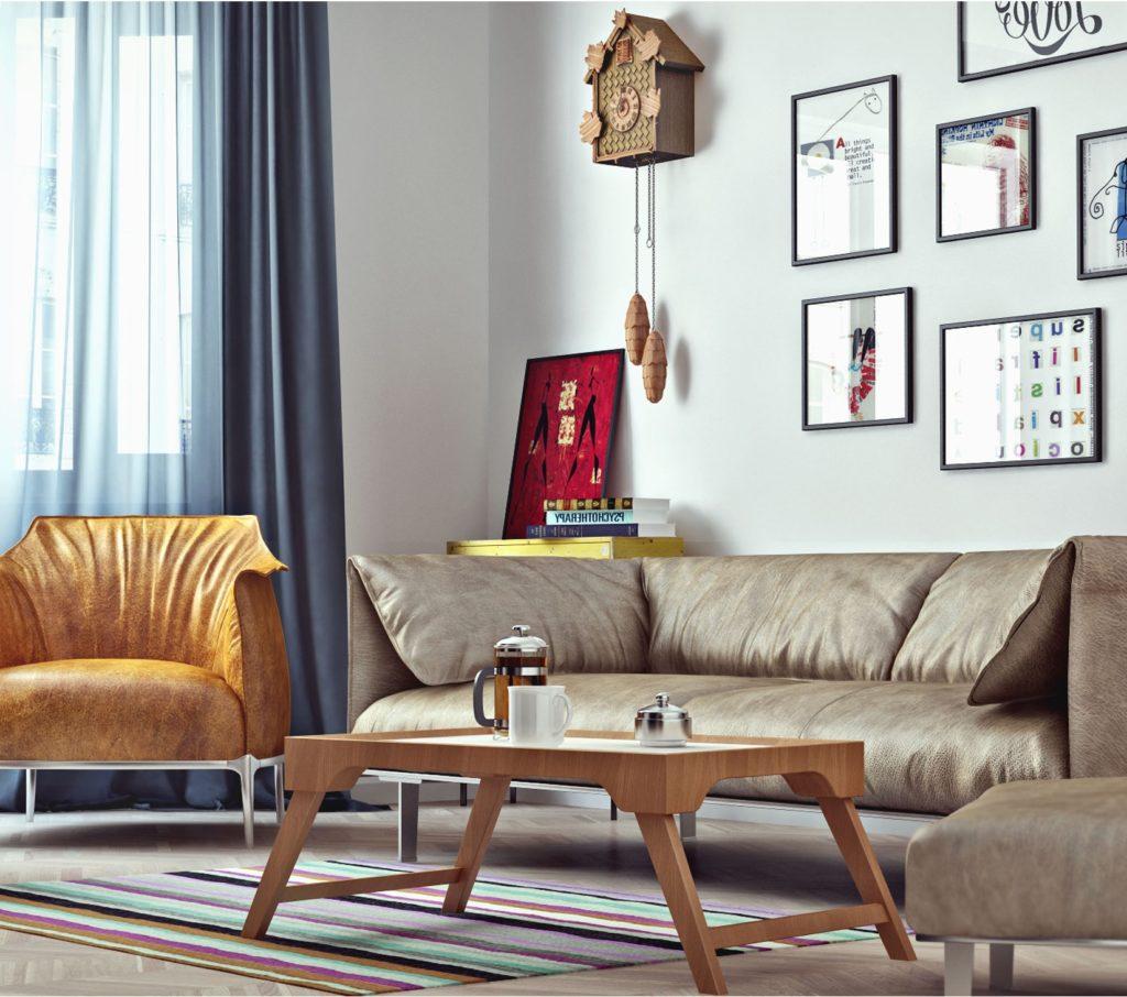 Натуральная мебель для интерьера в скандинавском стиле