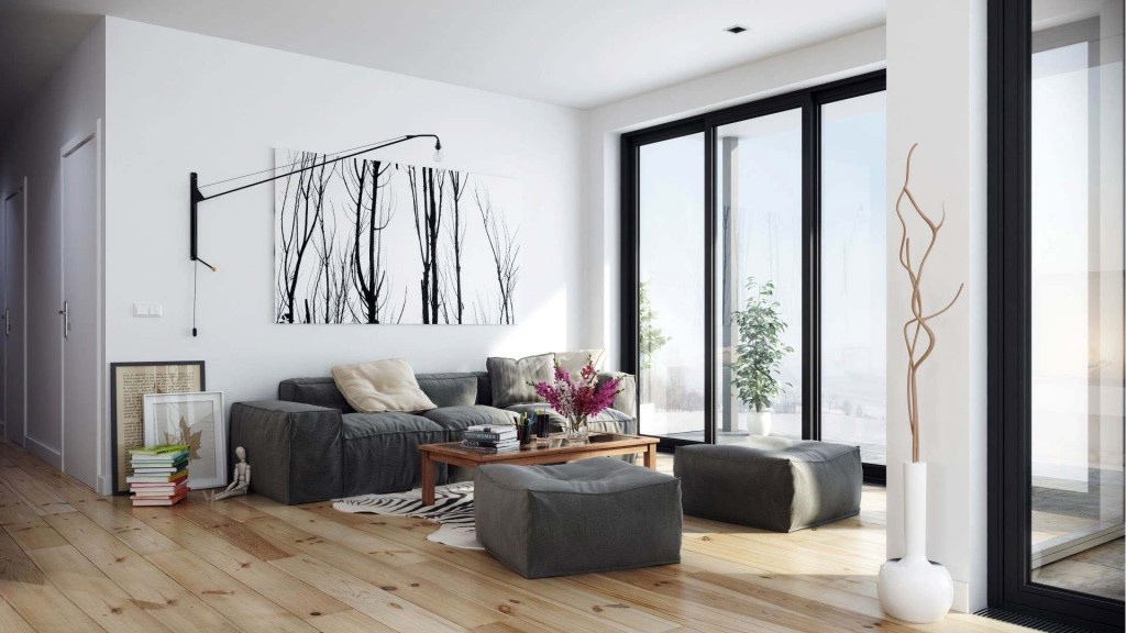 Серая мебель для гостиной в скандинавском стиле