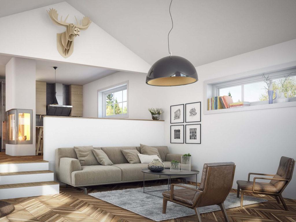 Мебель в гостиной в скандинавском стиле