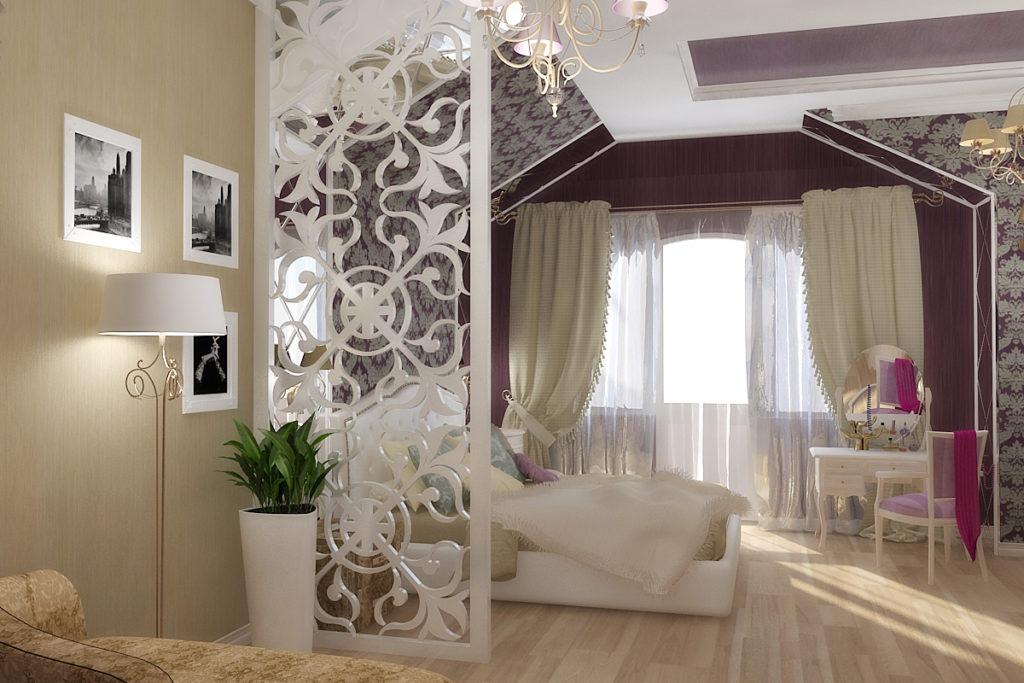 Мансардная спальня с декоративной перегородкой