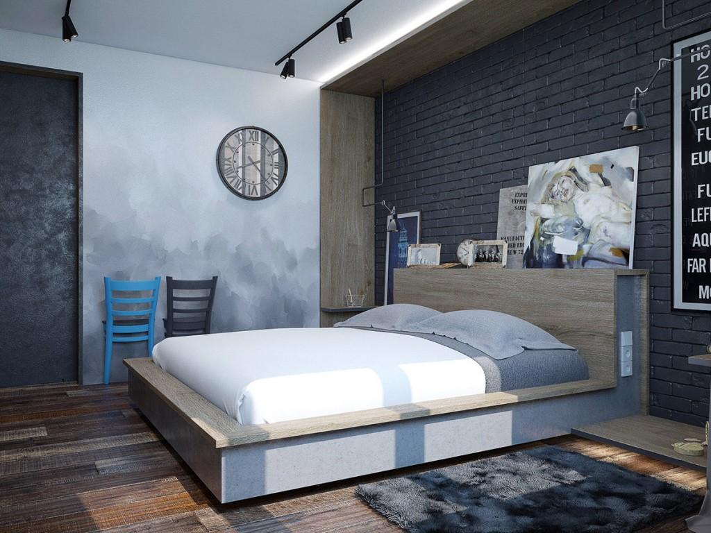 Спальня в спокойных тонах в стиле лофт