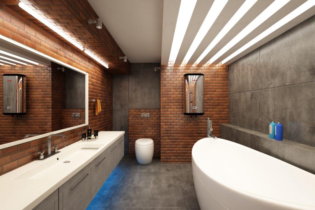 Красивая ванная комната стиле лофт
