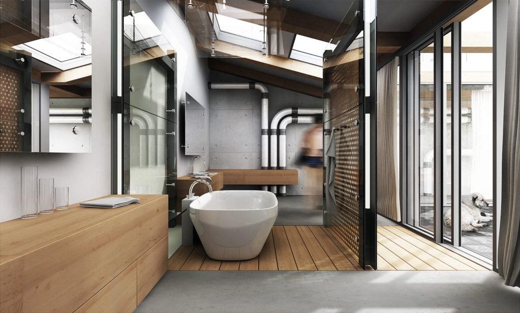 Ванная в стиле лофт с большим количеством света