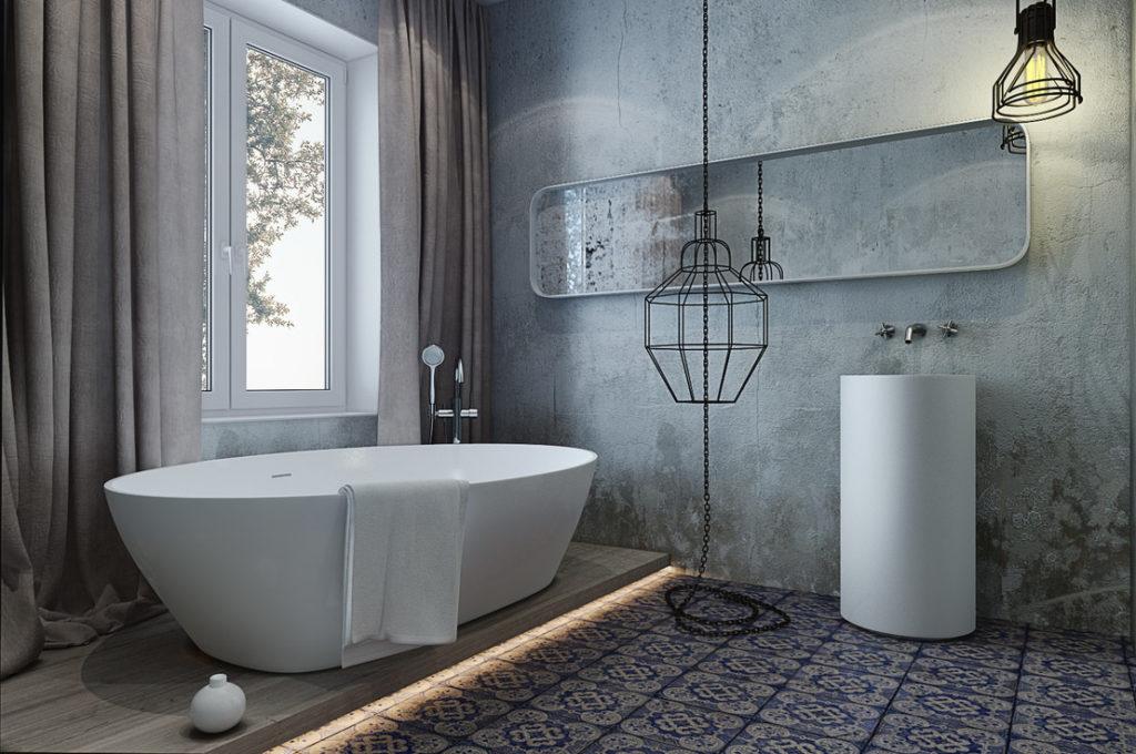 Ванная с бетонными стенами в стиле лофт
