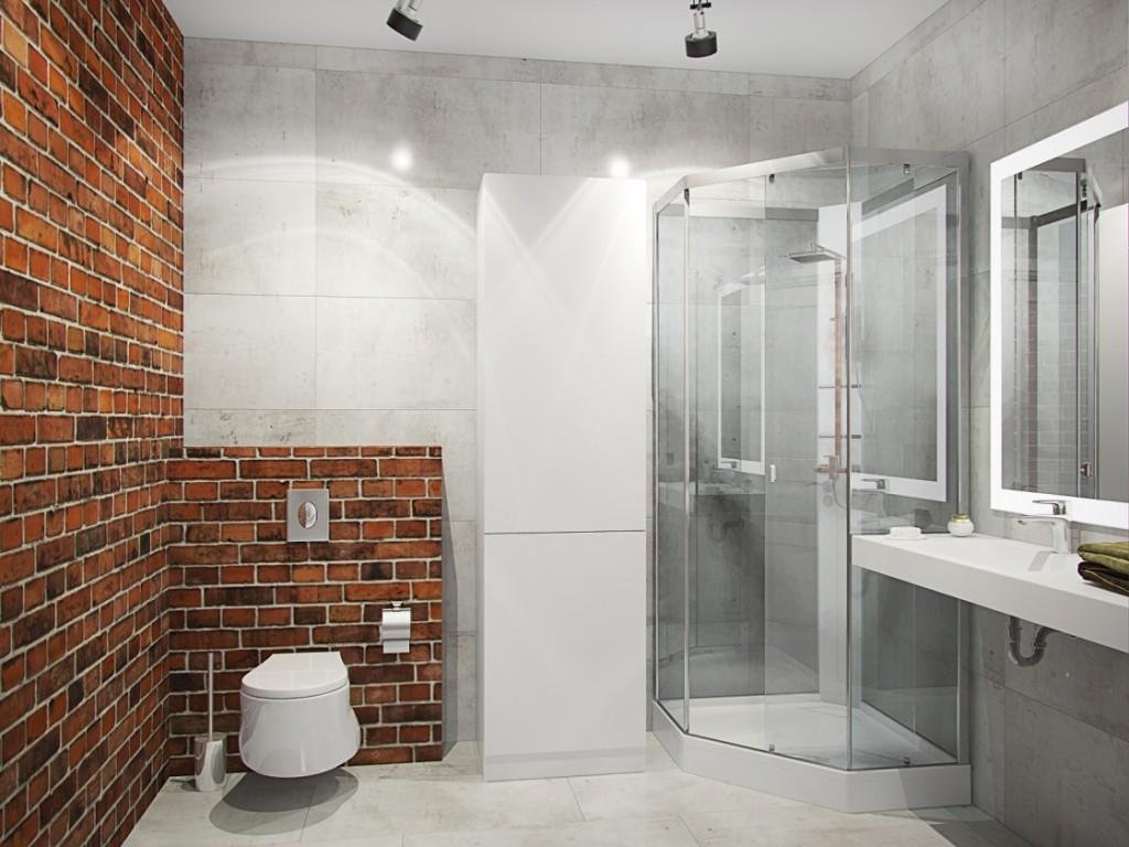 Ванная комната со стеклянным душем в стиле лофт