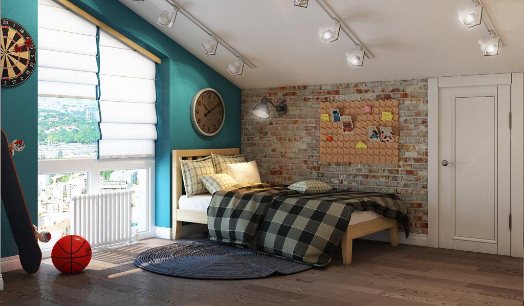 Детская комната в мансарде в стиле лофт