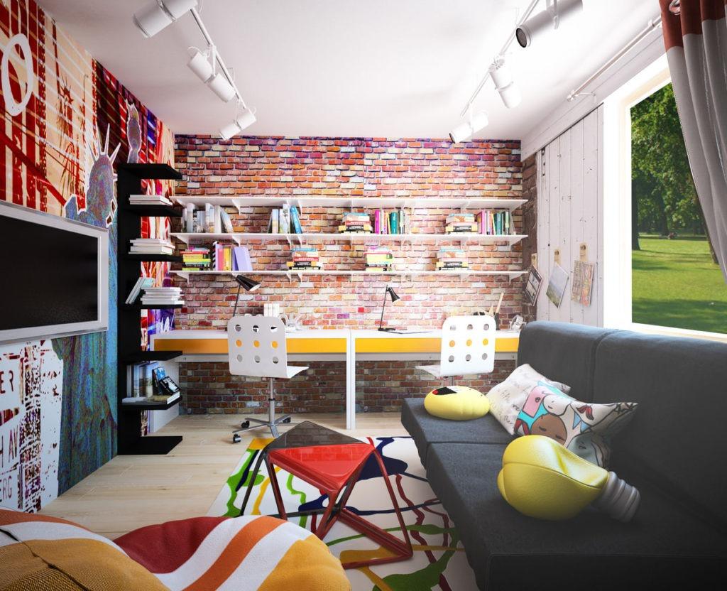 Уютная и яркая детская комната в стиле лофт