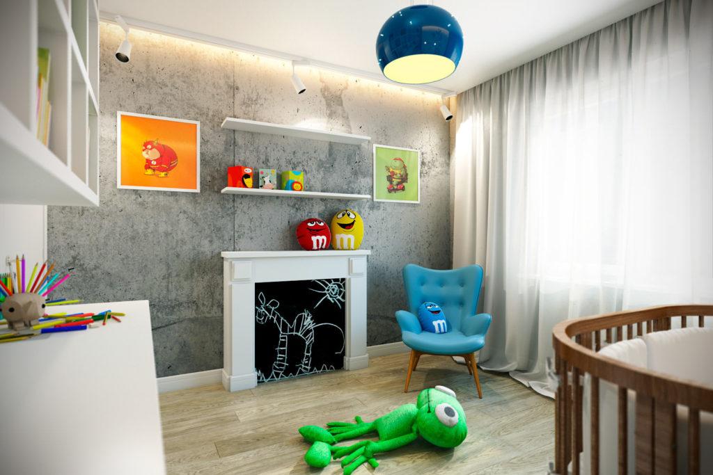 Детская комната в стиле лофт с яркими элементами