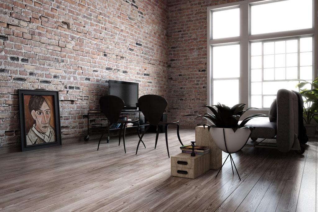 Гостиная с высокими потолками в стиле лофт