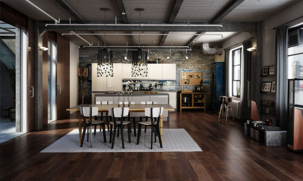 Обеденная зона и кухня в стиле лофт