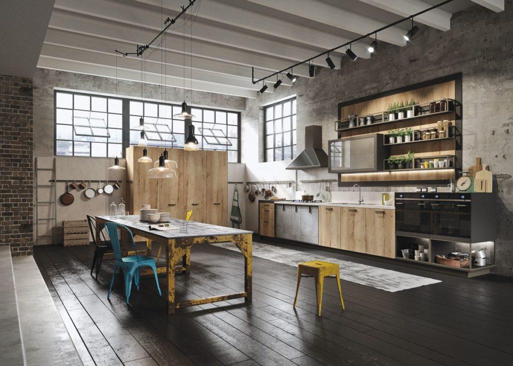 Просторная кухня-столовая в стиле лофт