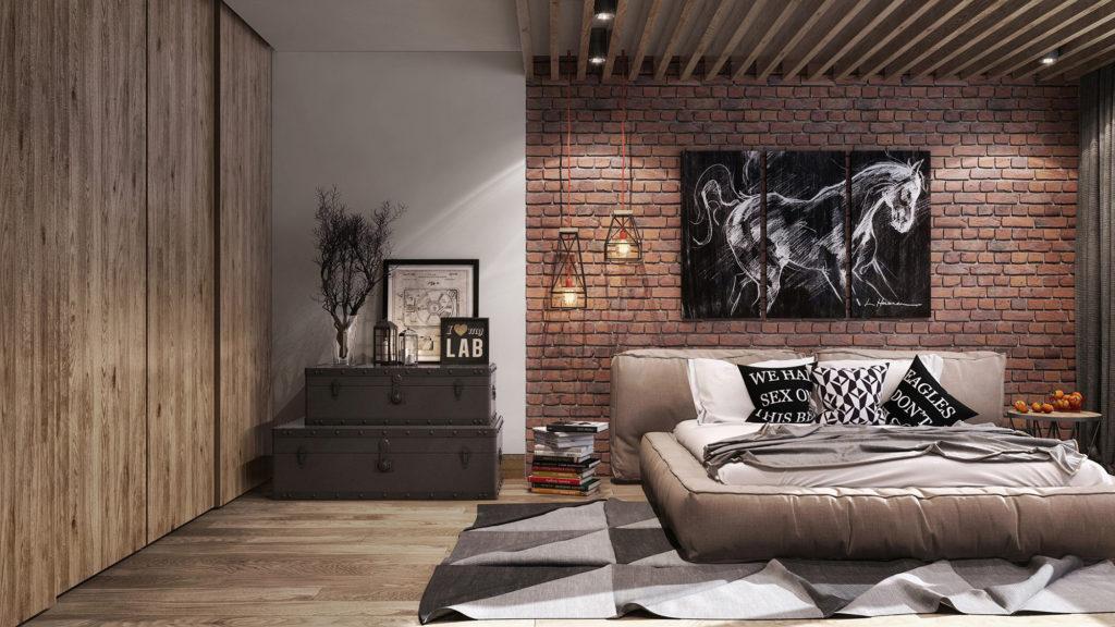 Уютная спальня в лофт стиле