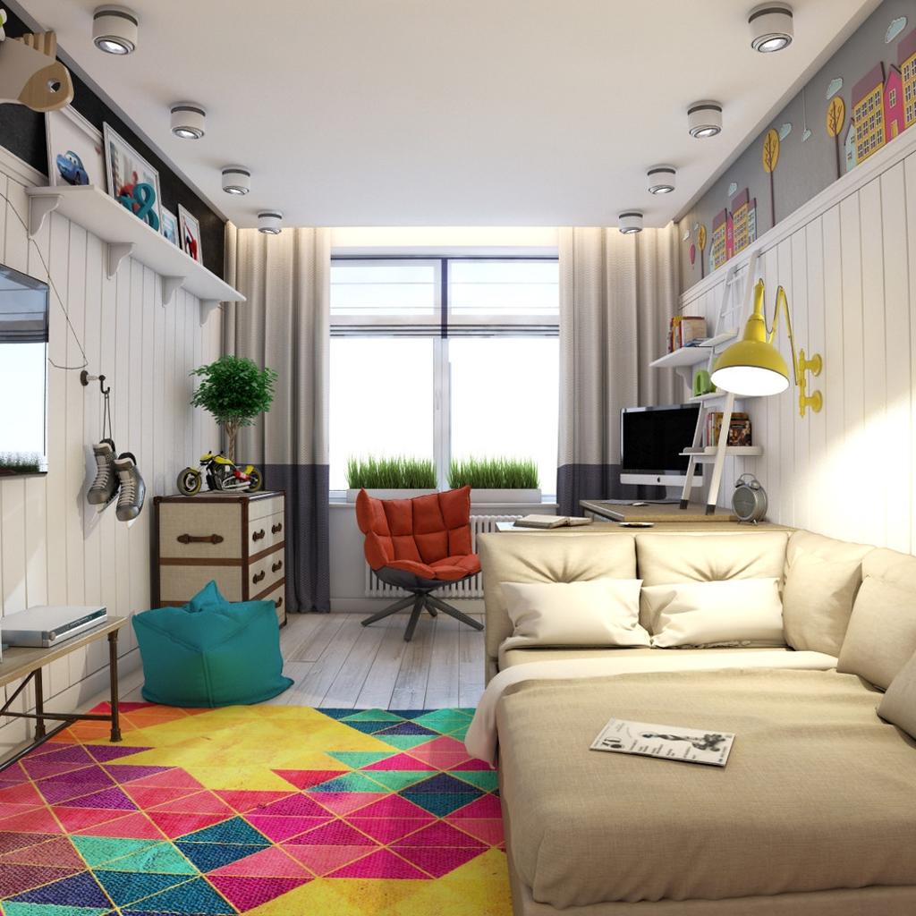 Дизайн комнаты для подростка с тахтой