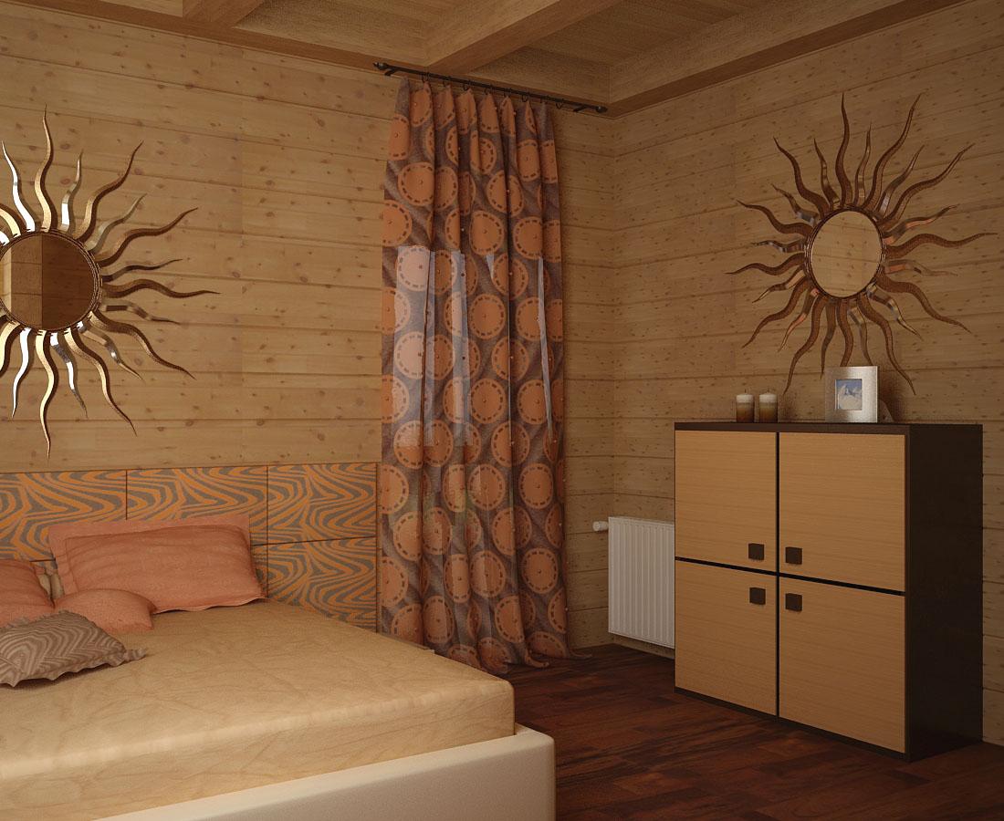 Оранжево-коричневые шторы в спальне в африканском стиле