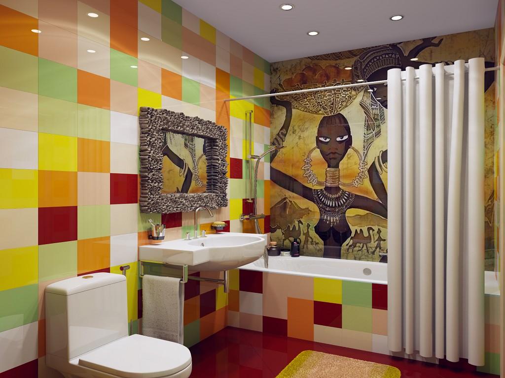 Ванная с яркой плиткой и африканским рисунком