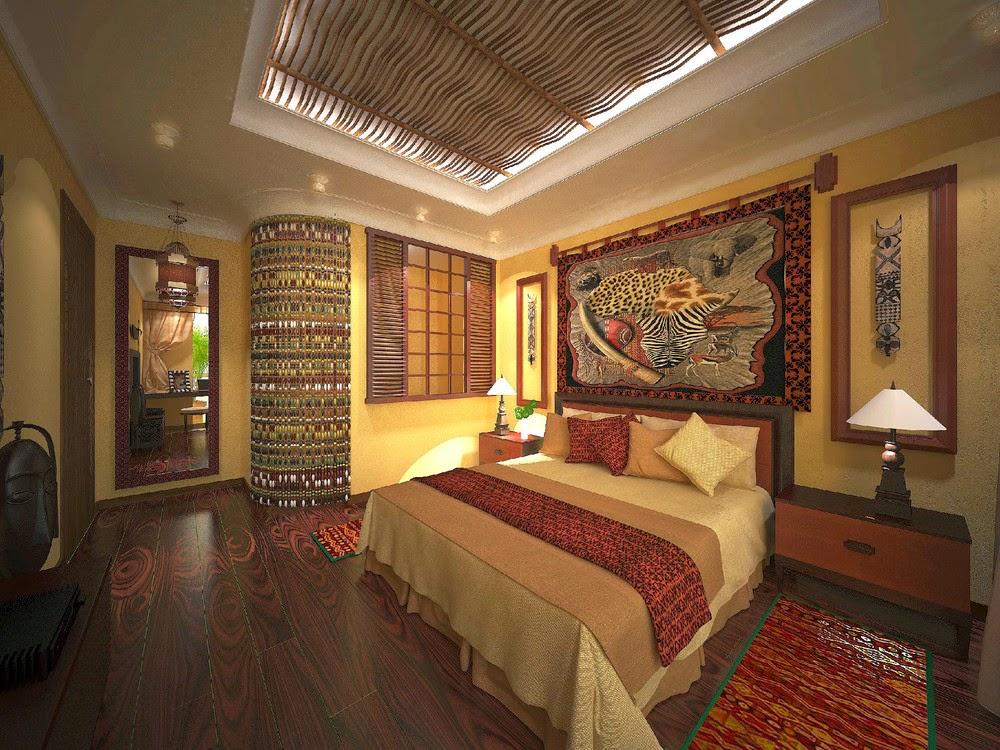 Роскошный интерьер спальни в африканском стиле